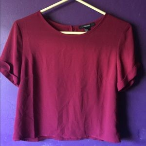 Forever21 Small Short Sleeve Red Blouse